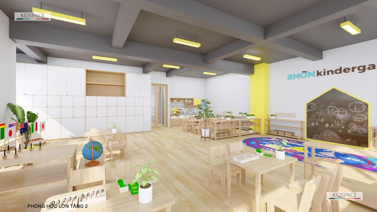 Thiết kế phòng học mầm non dễ thương, bắt mắt, hiện đại dành cho trẻ